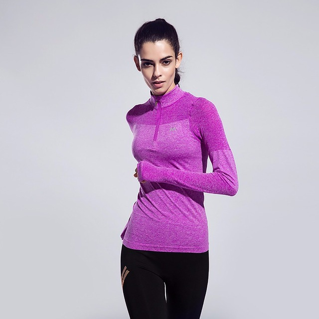 d8bc23601fad0 FLANDIS Running Shirt woman long sleeve Yoga Sporty top Fitness jersey female  Sports wear for women gym PurpleWholesaleYG006F-6