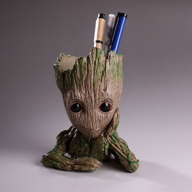 Christmas Gifts 14CM Tree Man Baby Anime Action Figure Dolls Penholder Guardians of The Galaxy Model Hero pen pot and flower pot