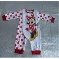 Polka Dot Minnie Bebé mono de Las Muchachas Ropa de Manga Larga 100% Algodón Lindo Bebé bebé de la ropa del mameluco