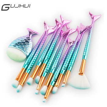 GUJHUI 15Pcs Fish Tail Makeup Brush Set Powder Foundation Eyeshadow Eyelash Blending Blush Contour Make Up Brushes Kit Cosmetics
