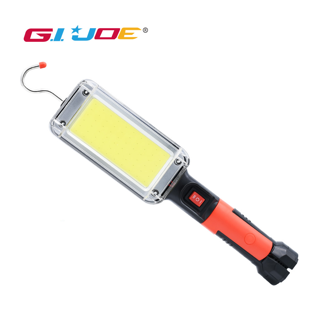 GIJOE Led Work Light Rechargeable Usb Cob Portable Light Use 2*18650 Battery With Hook Clip Magnetic Plastic Case Waterproof