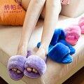 2017 Inverno Mulheres Chinelos Senhoras Mulheres indoor Chinelos de Algodão-Acolchoado Sapatos Casa Piso Macio morno Mulher Ocasional Sapatas Das Mulheres