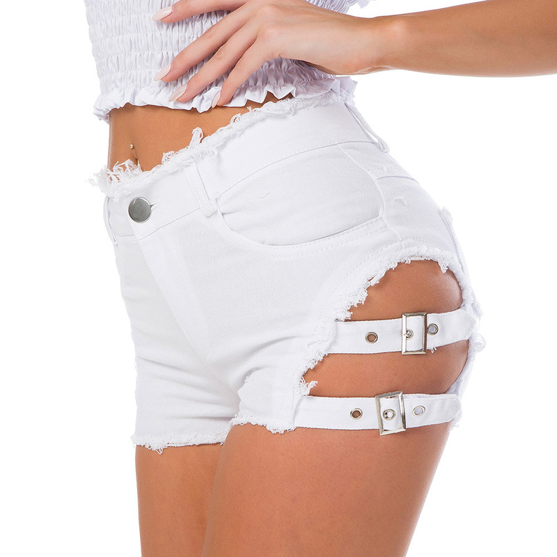 New Sexy Summer High Waist Jeans   Shorts   Womens Ripped Hole Bandage Denim   Shorts