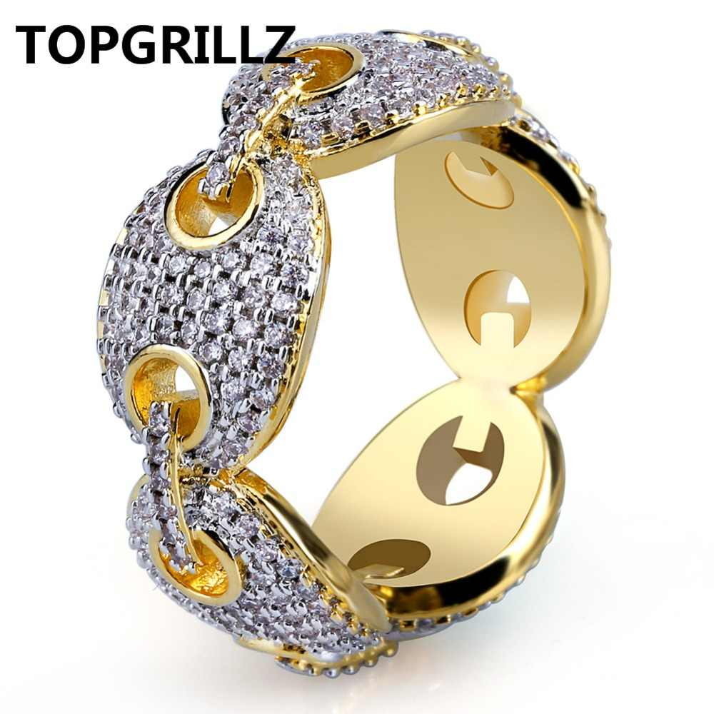 TOPGRILLZ Hip Hop ออกแบบใหม่ Iced Out Chain Link แหวน Micro Pave AAA Zircon Gold สีแหวนสำหรับชาย bling Party ของขวัญ
