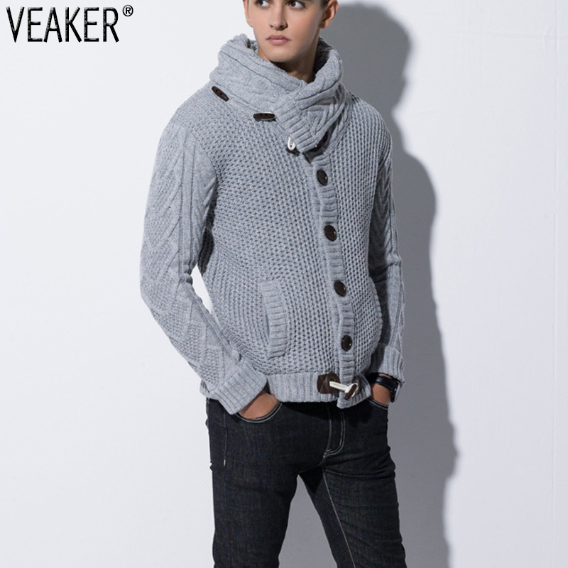 2019 Men's Autumn Winter Sweatercoat Solid Color Horn Button Sweater Cardigan Male Slim Fit Knitted Jacket Outerwear Sweatercoat