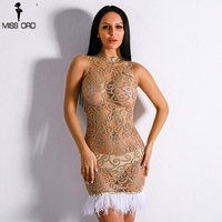 Missord 2018 Sexy Off Shoulder Retro Feather Geometry Dresses Female See Through Bodycon Dress FT8890