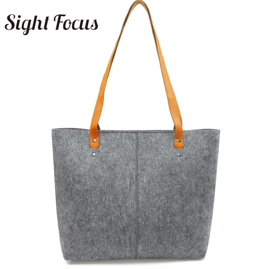 Vista enfoque gran Grey hombro bolsas de dama de fieltro bolso todos los días, bolsa de mujer Sac Feutre Vilten Tas filztasche