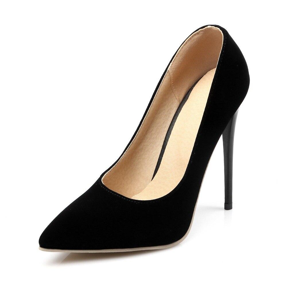 Hohe dünne Fersen 12cm 10cm Nubukleder Frauen Schuhe Mode spitze - Damenschuhe - Foto 4
