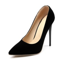 High thin heels 12cm 10cm Nubuck Leather women shoes fashion pointed toe pumps Mature sexy Party shoes Elegant Concise pumps