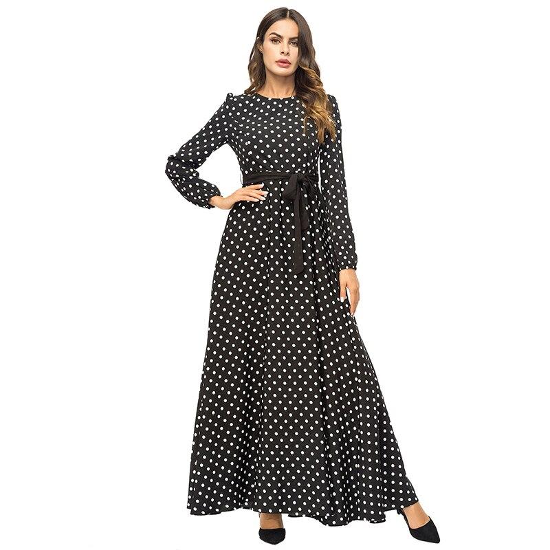 Fashion Turkish Women Black Clothing Plus size 4XL Muslim Wave Long Dress  Islamic Female Dubai Kaftan Dresses Abayas With Belt. 808211505f72
