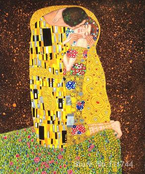 Colors Modern wall art The Kiss (Full view) by Gustav Klimt paintings reproduction High Quality Hand painted