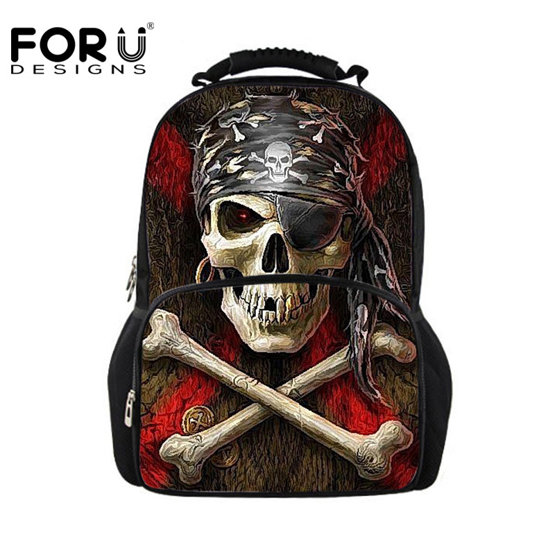 FORUDESIGNS Cool Skull Printing Schoolbags for Men,Kids Large School Bookbag,Children Teenager Casual Book Bag Satchel Backpack