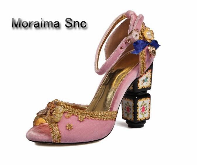 Moraima Snc Luxury brand design shoes women peep toe clogs pumps flower decor high heels pumps embroider women shoes 2018 Retro luxury brand shoes women peep toe