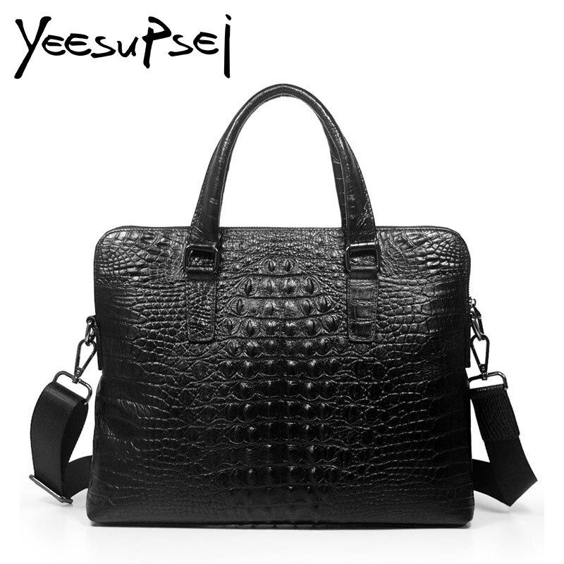 YeeSupSei hommes Vintage en cuir véritable Alligator serviette ordinateur portable travail sac à bandoulière Messenger sac d'affaires sacoche quotidien travail sac