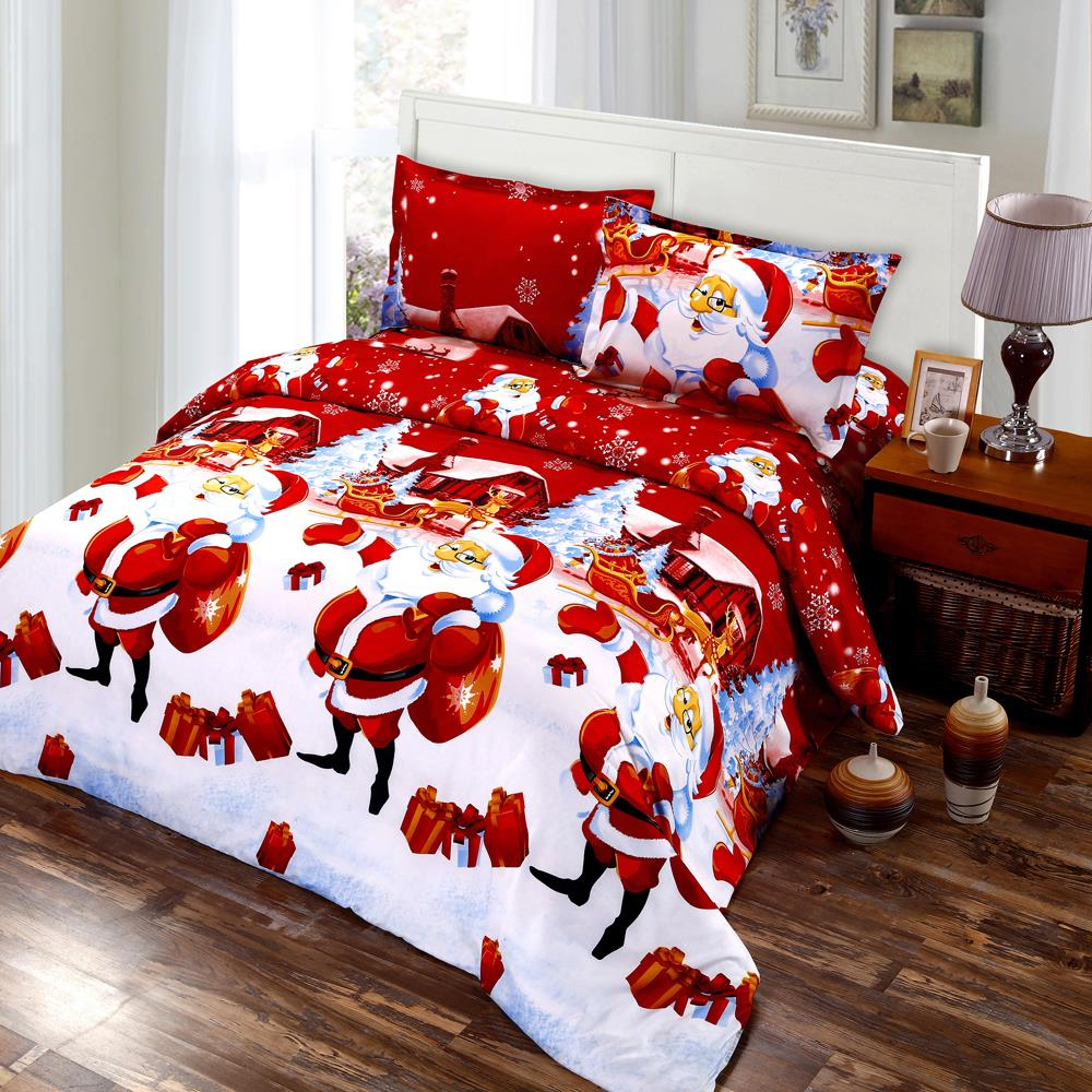 4/2pcs Merry Christmas Bedding Set Green Red Festival Gift Duvet Cover Set 3D Cartoon Santa Claus Print Bed Sheet Pillowcase D30-in Bedding Sets from Home & Garden on Aliexpress.com | Alibaba Group