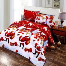 4/2pcs Merry Christmas Bedding Set Green Red Festival Gift Duvet Cover Set 3D Cartoon Santa Claus Print Bed Sheet Pillowcase D30