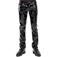 Plus Size Men Sexy Black Wetlook Faux Leather Lingerie Exotic Pants PU Latex Catsuit Zipper PVC Stage Clubwear gay fetish Pants
