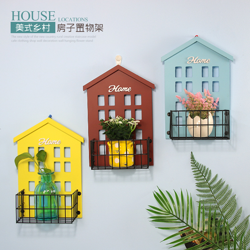 Creative Modern Small House Wall Shelves for Decoration In Cafe Pastoral Style Storage Rack Hanging Flower Stand