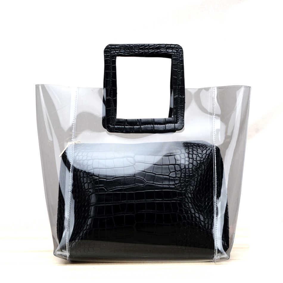 Nắng Bãi Biển Nổi Tiếng Thương Hiệu Nhựa PVC Trong Suốt Túi Nữ Thời Trang Trong Suốt Túi Tote Nữ Túi Messenger Túi
