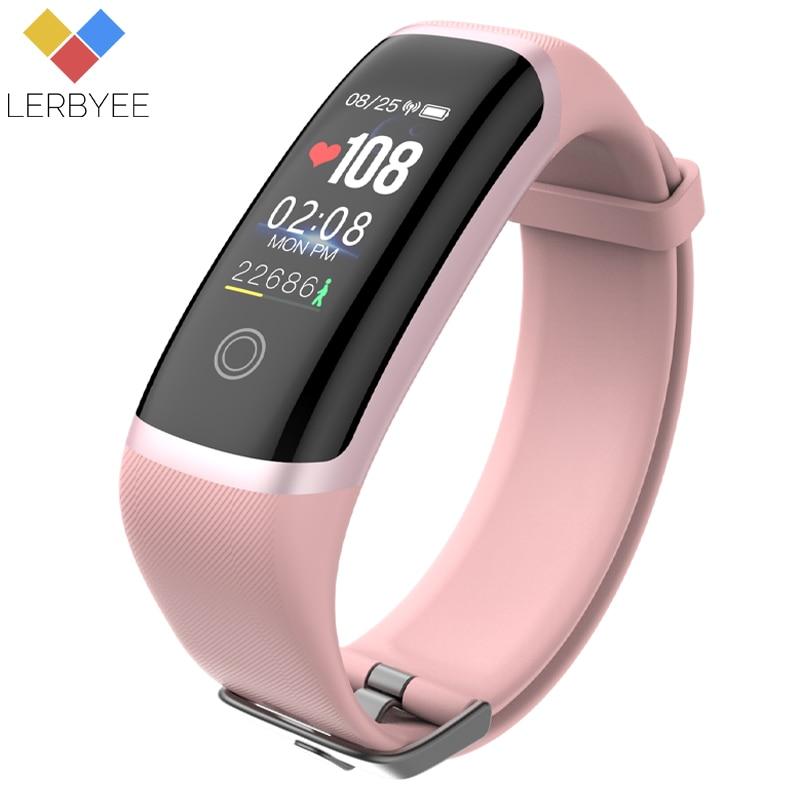 Lerbyee Deporte Fitness Tracker M4 inteligente Monitor de ritmo cardíaco pulsera calorías impermeable IP67 banda inteligente de reloj de moda para iOS