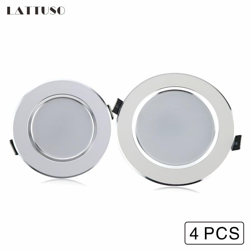 LATTUSO 4 Pcs LED Downlight 3W 5W 7W 9W 12W Recessed Round Lamp Light 220V 230V 240V Indoor Lighting Warm White Cold
