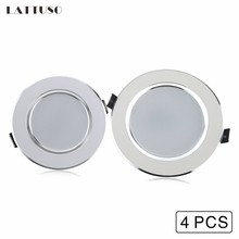 LATTUSO 4 Pcs LED Downlight 3W 5W 7W 9W 12W Recessed Round LED Lamp Light 220V 230V 240V Indoor Lighting Warm White Cold White недорого