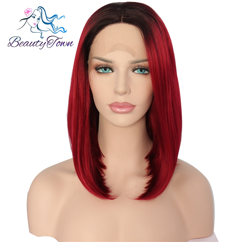 BeautyTown Black Ombre Red Short BOB High Temperature Fiber Hair Heat Resistant Glueless Synthetic Lace Front