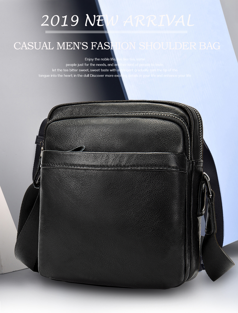 Men's Shoulder Bag for Men Crossbody Bags Genuine Leather Flap Small Male Bussiness Handbags with Zipper Messenger Bag 1