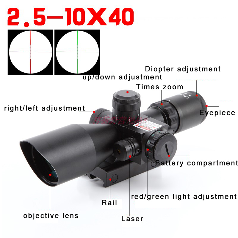 Image 3 - Mil Dot Reticle Sight Scope Hunting Riflescope 2.5 10 x 40E Times Zoom Laser Illuminated Tactical Rifle Scope 20mm Rail Mounts-in Riflescopes from Sports & Entertainment