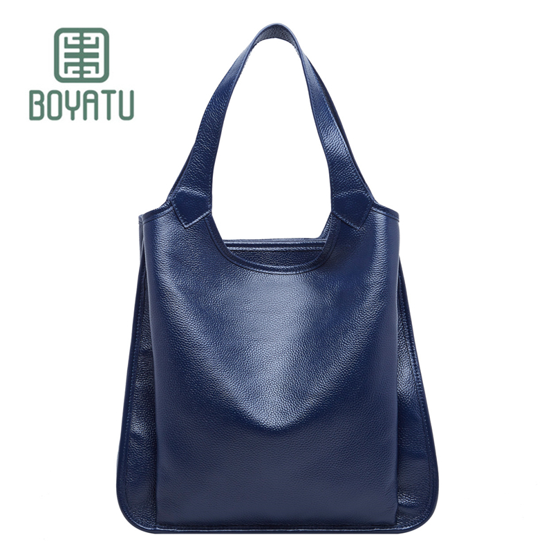 BOYATU Top-Handle Bags Female Sac A Main Luxury Handbags Women Bags Designer Tote Bags 2018 Genuine Leather Shoulder Bag Canta luxury handbags women bags designer brand famous scrub ladies shoulder bag velvet bag female 2017 sac a main tote