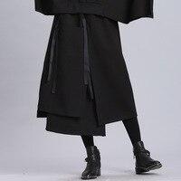 Autumn Winter Women High Waist Skirts Female Punk Hip Hop Personality Irregular Split Double Layers Black Long Skirts