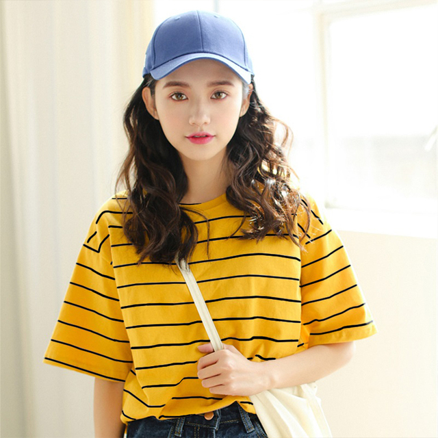 3d8ed18e5f9 hot sale Harajuku Vintage Ulzzang Girlfriends stripe Printed t-Shirts 2018 summer  Women Casual Loose Short Sleeve tee Tops Femme