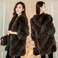 Новый 2017 женщин способа Натуральный Мех пальто, натурального Меха Лисы пальто Осень зима Элегантный Полосатый Мех куртки