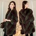 New 2017 fashion Women's Real Fur coats , Natural Fox Fur coats   Autumn winter Elegant Striped Fur jackets