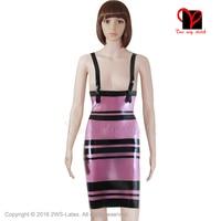 Purple Sexy Latex Dress Rubber pencil pinstriped Gummi Bodycon studded Striped shoulder straps Playsuit plus size XXXL QZ 002
