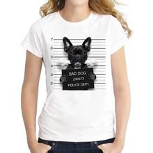 2017 Hot Sale Dog Police Dept Design Women T Shirt French Bulldog T-shirt Novelty Short Sleeve Tee Pug Printed Bad Dog Shirts