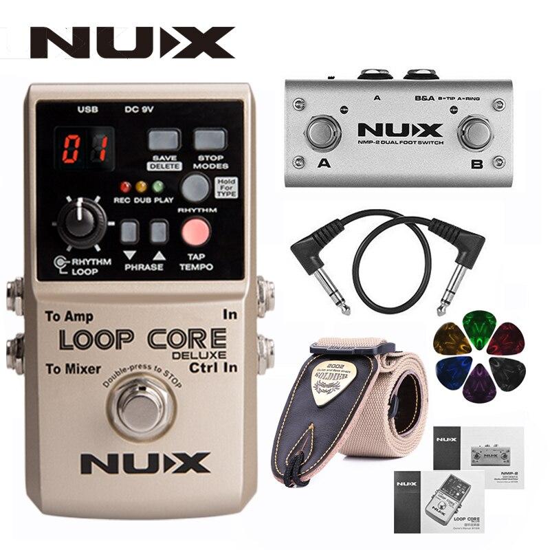 Nux loop core deluxe atualizado pedal de loop de guitarra com interruptor de pé detecção de tempo automático 8 horas de gravação de 24 bits de áudio + presentes