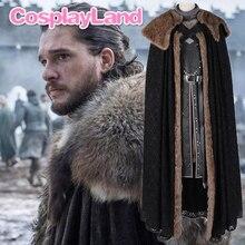 New Game of Thrones Season 8 Jon Snow Cosplay Costume Halloween Party Cloak Custom Made Jon Snow Costume Outfit Costumes майка борцовка print bar jon snow