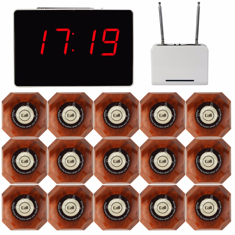 Wireless Waiter Pager Calling System for Restaurant 1pcs Receiver Host +1pcs Signal Repeater +15pcs Call Button F3302B wireless table call bell system k 236 o1 g h for restaurant with 1 key call button and display receiver dhl free shipping