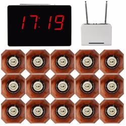 Wireless Waiter Pager Calling System for Restaurant 1pcs Receiver Host +1pcs Signal Repeater +15pcs Call Button F3302B