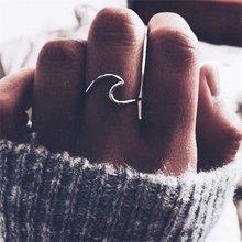 Fnio antigo rosa ouro prata cor onda anéis para mulher simples metal surfista midi anel junta anéis de surf oceano fio anel