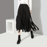 Johnature Women Solid Color Skirts High Waist Fashion 2019 Spring New Elastic Waist Loose Casual Women Skirts