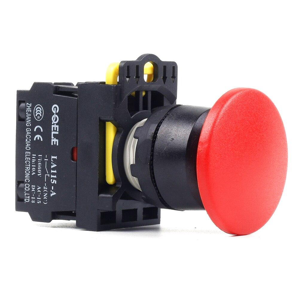 5 PCS Push button switch Mushroom button Latching OR Momentary IP40 LA115-A1-11M-G