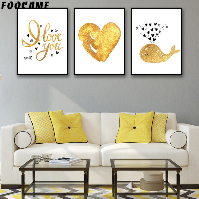 FOOCAME Cartoon Whale Love Gold Letter Posters and Prints Art Canvas ...