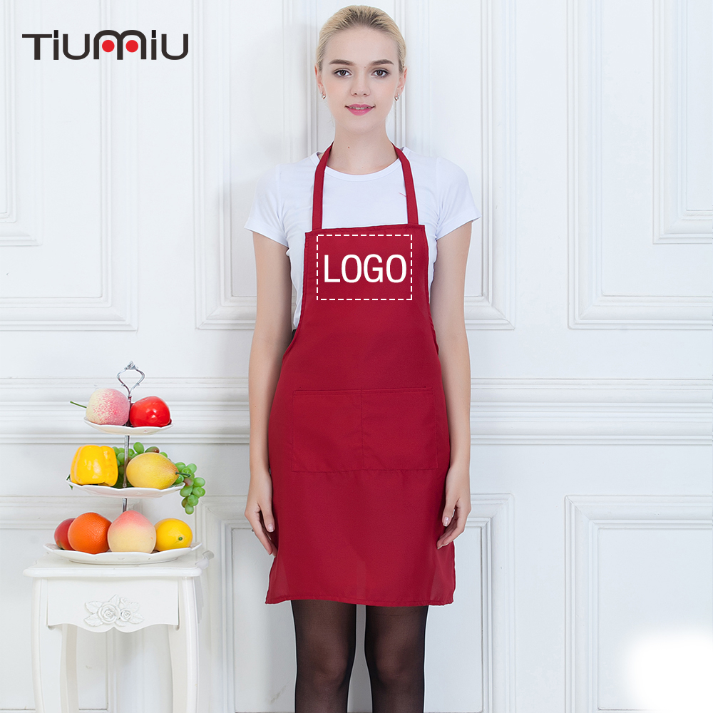Chef Apron Customizable LOGO Halter Neck Unisex Food Service Restaurant Hotel Cafe Bakery Kitchen Waiter Cook Workwear Uniforms