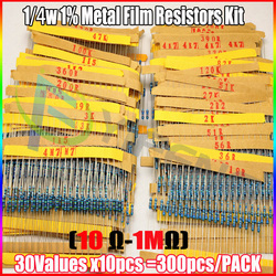 Total 300pcs 1 1 4w metal film resistor assorted kit 30values 10pcs 300pcs 10 ohm 1m.jpg 250x250