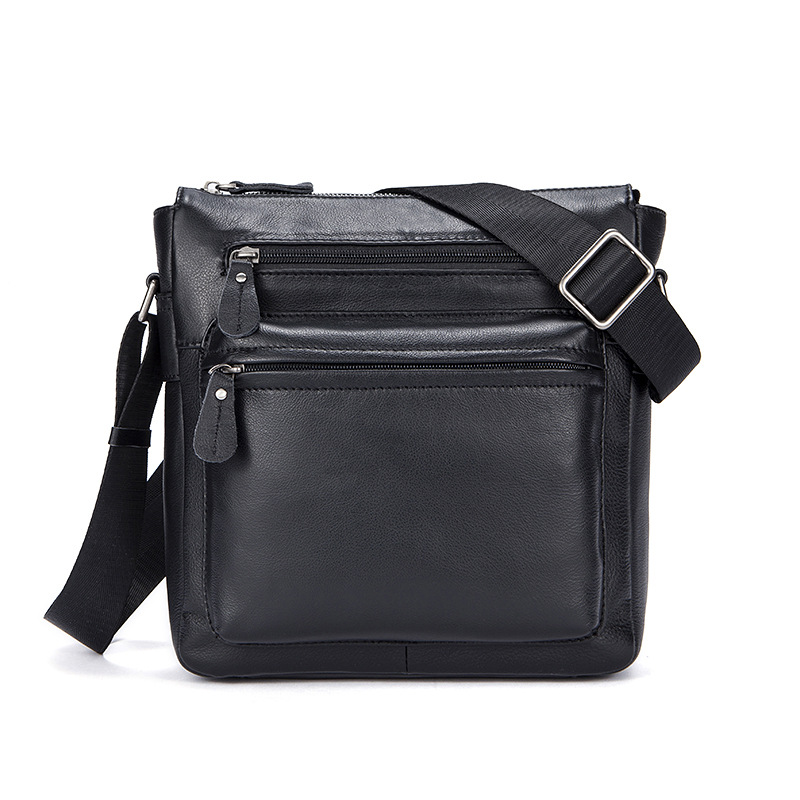 Korean version of the vertical square black Genuine Leather men shoulder bags large casual Cowhide men's Messenger bag korean version of the first layer of leather vertical section square shoulder messenger bag in the bag fashion casual tassel lea