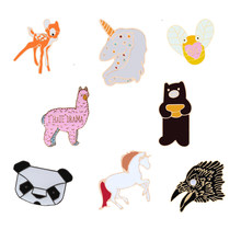 Dier Emaille Pins Beer Paard Alpaca Herten Panda Animal Broches Mode-sieraden Jas Reversspeldjes Knop Vrouwen Badges Kind Geschenken(China)