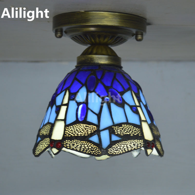 Tiffany Ceiling Light Stained Glass Lampshade Country Dragonfly Living Room  Indoor Lighting E27 Home Decor Lighting