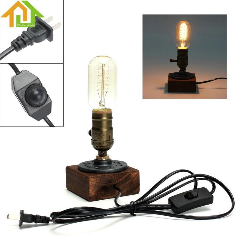 Retro Style Vintage Industrial Single Socket Table Bedside Desk Lamp Wooden Base Creative Edison Light Bulb Included Home Shop D